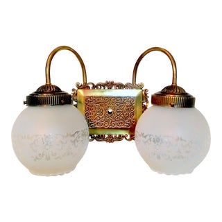 Vintage Dual Frosted Globe Vanity Sconce