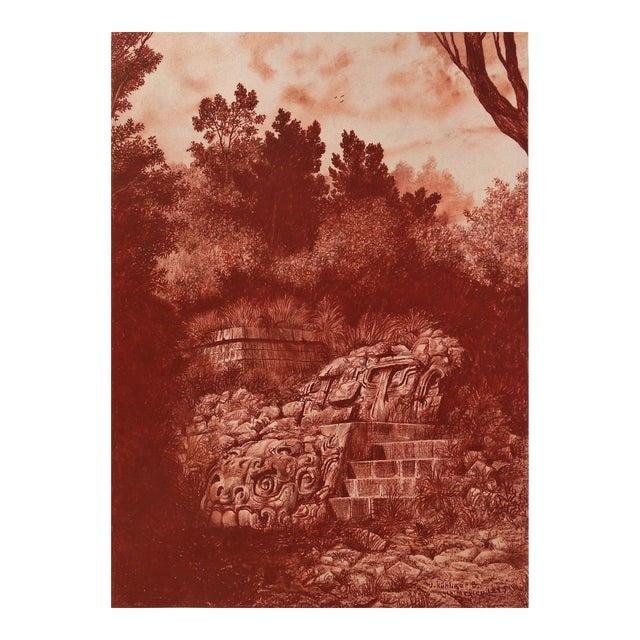 """Illustration of Mayan Ruins, """"Habitat Maya No.4"""" - Image 1 of 5"""
