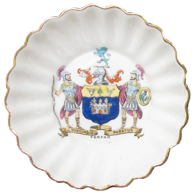 Pair of petite English Heraldry porcelain dishes. White with scalloped gilt edges and a center coat of arms medallion....