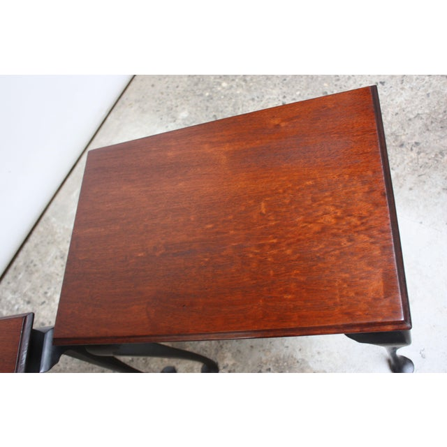 Brown Pair of Mahogany and Ebonized Walnut Chippendale-Style Tall End Tables For Sale - Image 8 of 13