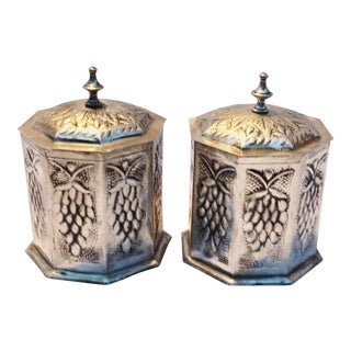Moroccan Silver Hexagon Canisters - A Pair For Sale