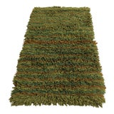 Image of Mid-Century Modern Retro Hand-Knotted Wool Shag Rug For Sale