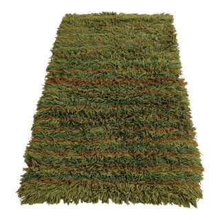 Mid-Century Modern Retro Hand-Knotted Wool Shag Rug For Sale