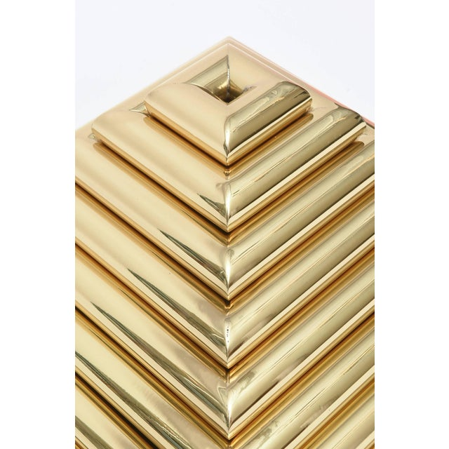 Italian 1970s Vintage Italian Romeo Rega Pyramid Polished Brass Sculpture / Serving Trays - 8 Pieces For Sale - Image 3 of 9