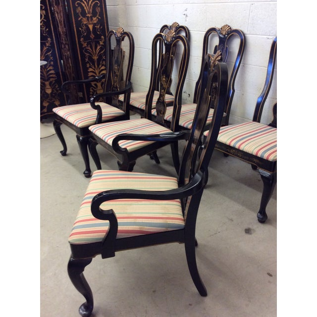 Drexel Heritage Black Lacquer Asian Style Dining Chairs - A set of 6 For Sale - Image 10 of 11
