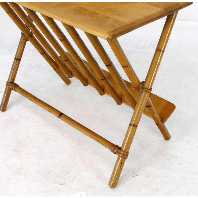 Pair of Faux Burnt Bamboo X-Base Rectangular Side End Tables With Magazine Rack For Sale - Image 11 of 12