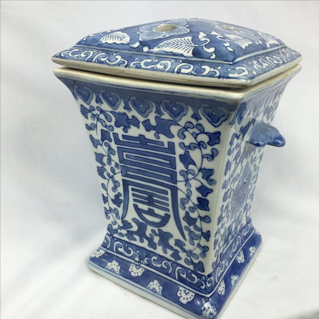 Blue & White Square Chinoiserie Floral Jar - Image 2 of 7