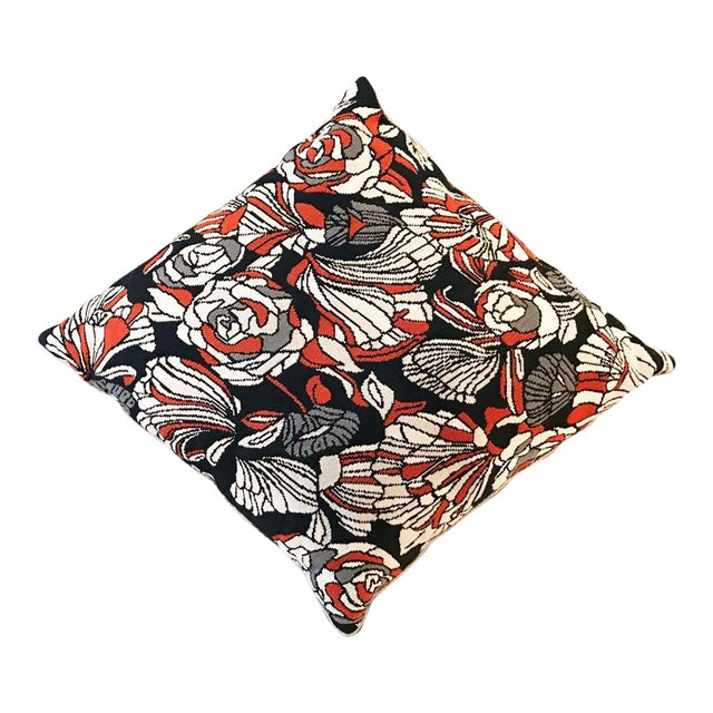 Large Mid Century Embroidered Floral Pillow - Image 1 of 7