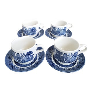 Staffordshire Blue Willow Cups & Saucers, 8 Piece For Sale