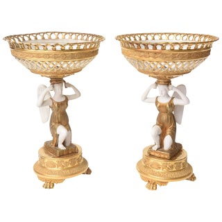Pair of Antique First Period French Empire Centerpiece Tazzas or Fruit Compotes For Sale