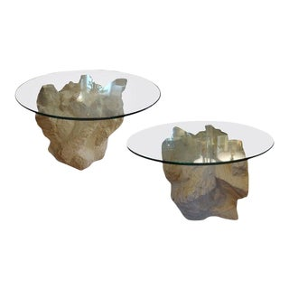 1940's Hollywood Regency Faux Stone Plaster Tables-Pair For Sale