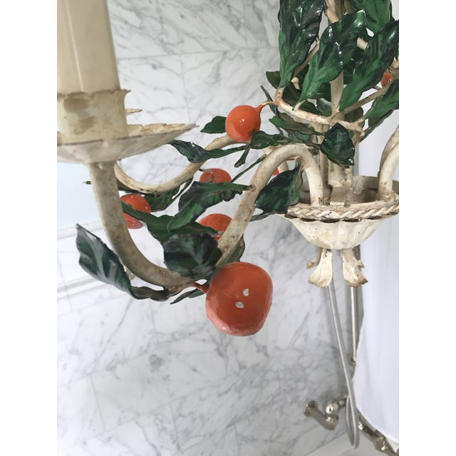 Orange Italian Tole Painted Tangerine 5-Light Chandelier For Sale - Image 8 of 11