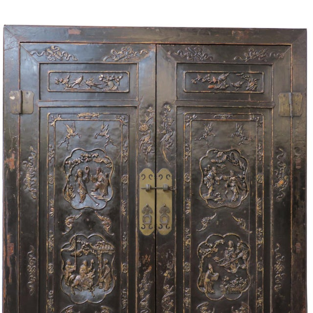 Chinese Antique Chinese Black Wedding Wardrobe Cabinet With Gold Carvings For Sale - Image 3 of 12
