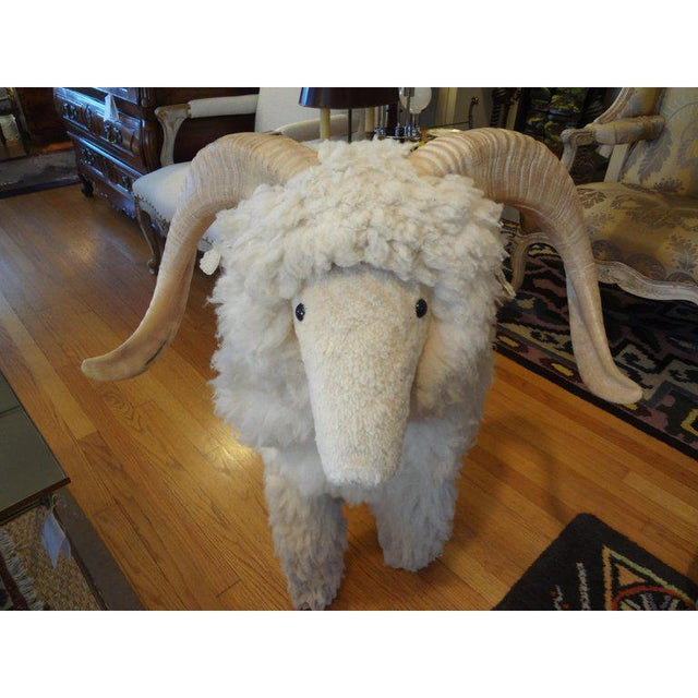Cream 1960's Claude Lalanne Inspired Figural Shearling Sheep Sculpture For Sale - Image 8 of 12