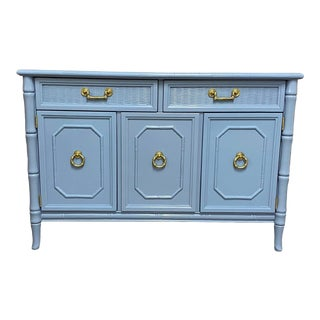 Vintage Broyhill Faux Bamboo Server Lacquered in French Blue For Sale
