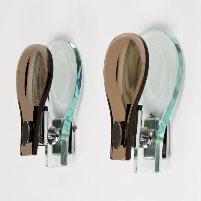 Italian Glass Sconces by Max Ingrand for Fontana Arte - a Pair - Image 3 of 6