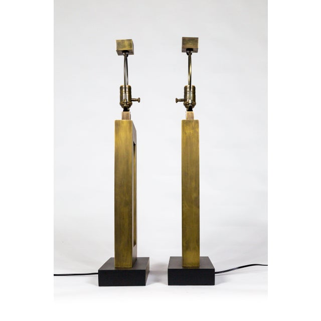 1970s 1970s Rectangular Antiqued Brass Table Lamps - a Pair For Sale - Image 5 of 11