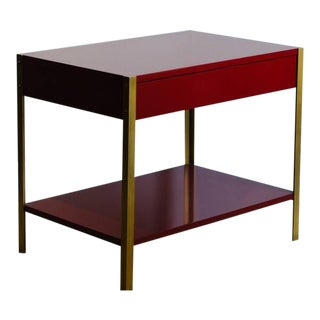 Pair of 'Laque' Oxblood Lacquer and Brass Nightstands by Design Frères For Sale