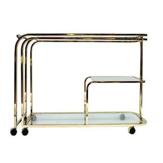 Brass and Glass Bar Cart by Milo Baughman for DIA For Sale