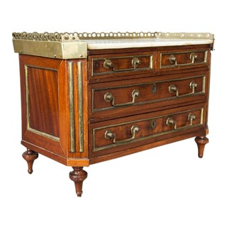 Directoire Style Mahogany and Brass Inlaid Miniature Commode For Sale