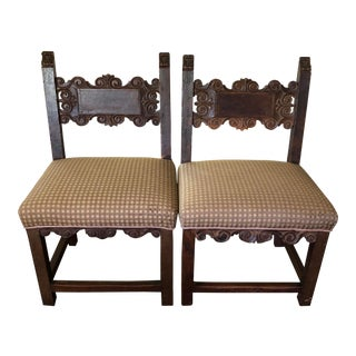 Mid 19th Century Antique Carved Backs Chairs-A Pair For Sale