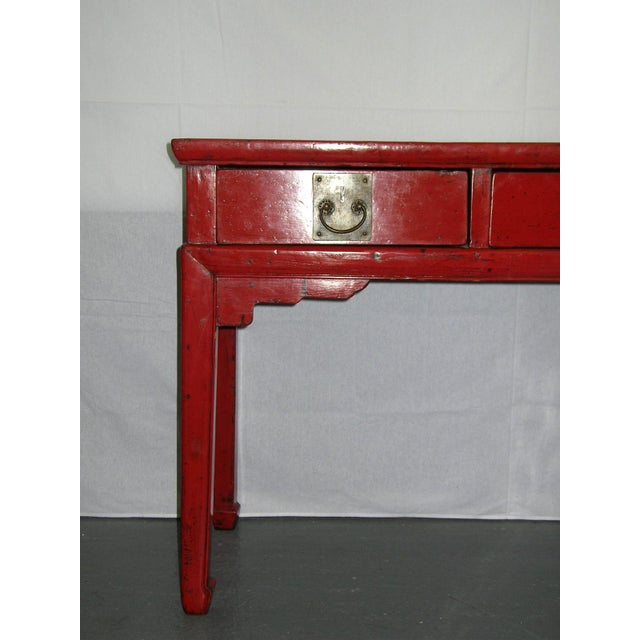 Up For Is An Elegant Antique Chinese Red Lacquered Side Desk Console With Three