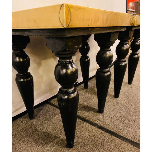 Brass Moroccan End Tables in Fine Gold Brass & Carved Legs - a Pair For Sale - Image 8 of 13