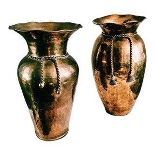 Vintage Hollywood Regency Brass Vases W/ Tassel Rope Detail - a Pair