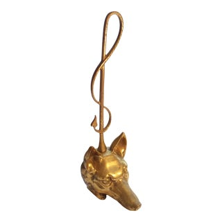 19th Century Brass Fox & Equestrian Crop Handled Door Stop For Sale