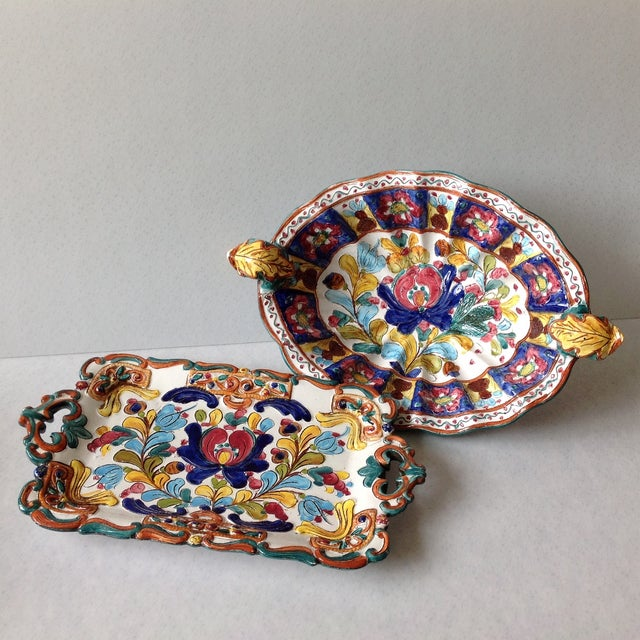 Hand-Painted Majolica Pottery Bowl & Tray - Image 2 of 11