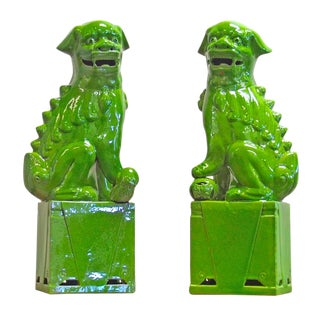 Contemporary Porcelain Lime Green Sitting Foo Dogs - a Pair