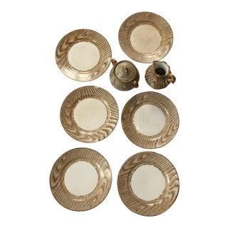 Vintage Oak Grain Design Sugar, Creamer & Dessert Plates - Set of 8 For Sale