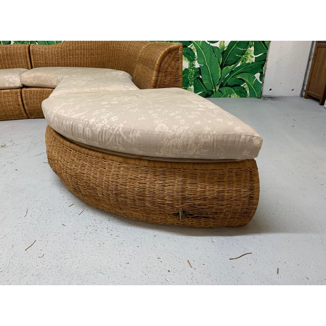 Large Sculptural Wicker Sectional Sofa For Sale - Image 9 of 13