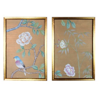 Hand-Painted Chinoiserie Diptych Rendered on Mottled Blue Paper - 2 Pieces For Sale