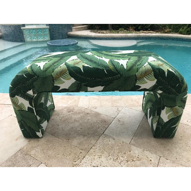 Karl Springer Style Upholstered Waterfall Bench - Image 2 of 7