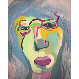 """Contemporary Abstract Portrait Painting """"Two in One"""" - Framed For Sale"""