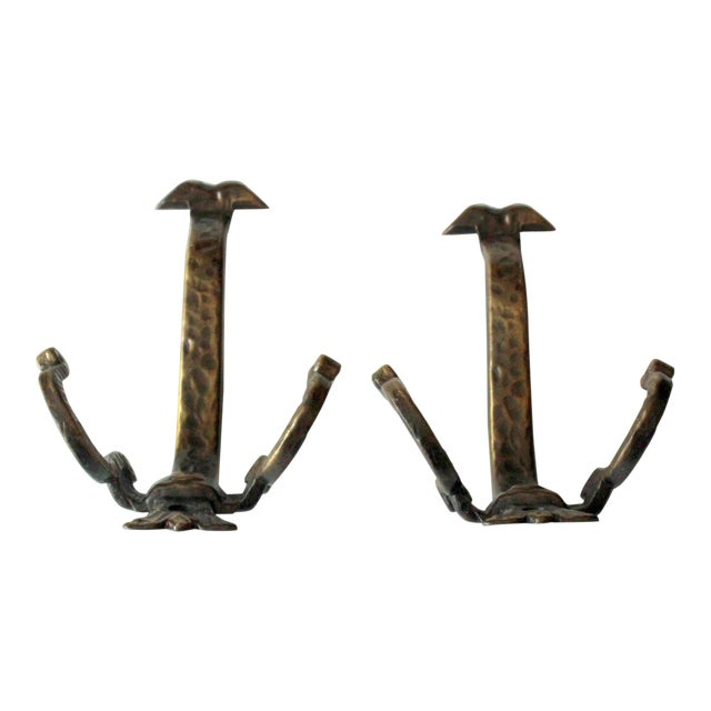 1960s Solid Coat Hooks Made of Wrought Iron - a Pair For Sale