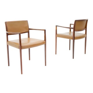 Scandinavian Armchairs in Rosewood and Brown Leather 1960s For Sale