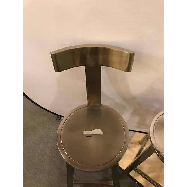 A Pair of Deco Style Steel Bar Stool For Sale - Image 10 of 12