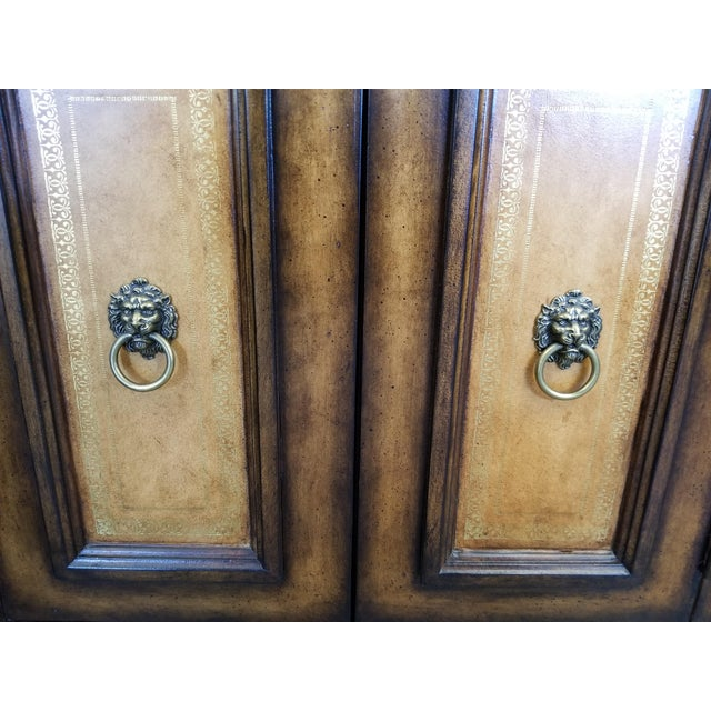 Traditional Black Faux Marble Top Buffet with Lion Motif Corner Pillars For Sale In Los Angeles - Image 6 of 10