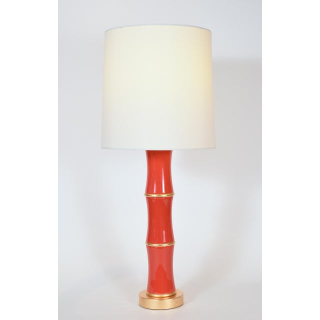 Orange Porcelain Table Lamp With Gold Wood Base - a Pair For Sale - Image 4 of 10