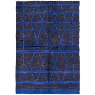 Modern Moroccan Blue Rug - 6′ × 9′ For Sale