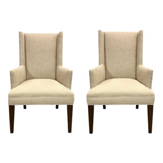 Studio a Home Transitional Straight Wing Arm Chairs Pair For Sale