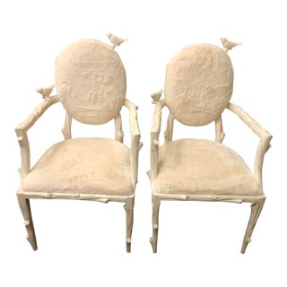 Children's Bird Motif Armchairs- A Pair For Sale