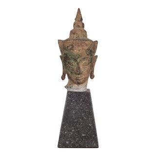 """Sukhothai Style Bronze Head of Buddha Shakyamuni on Marble Base 7.75"""" C.1800 For Sale"""