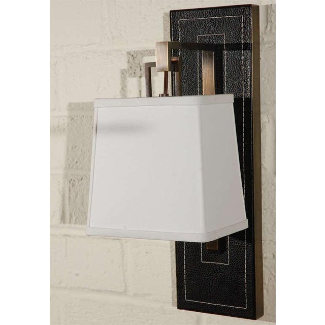 Paul Marra Black Leather Back Sconce with Tapered Linen Shade - Image 2 of 6