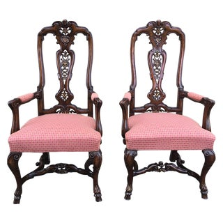 Burl Walnut Queen Anne Style Pair of Armchairs, Circa 1940 For Sale