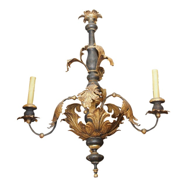 19th Century Italian Wood and Gilded Tole Chandelier For Sale