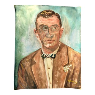 Mid-Century Portrait of a Man With a Bow Tie For Sale
