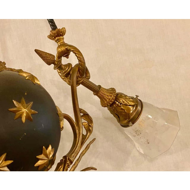 Bronze Antique French Empire Style Chandelier Ebonized Sphere With Bronze Surrounds For Sale - Image 8 of 13